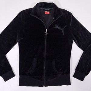 Puma Black Velour Soft Zip-Up Sweatshirt